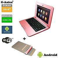 "G-Anica Ordenador portátil de 10.1""(WIFI, 1.5GHz 512 MB de RAM, 4 GB de disco duro) Android 4.4.2 Netbook color Rosa+Bolso del ordenador portátil"