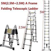 Escalera telescópica Plegable de Aluminio con diseño de Minium Te Der Extensible de 5 m, portátil, Multiusos, Plegable, Extensible