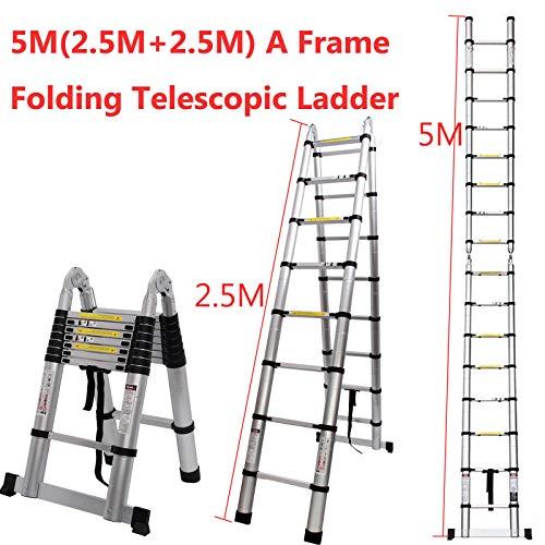 Generic .esco Ausziehbare Leiter mit Aluminium-Teleskopleiter, tragbar, Mehrzweck-Leiter, zusammenklappbar, tragbar, Mu