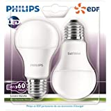 Philips Lot de 2 Ampoules LED Standard Culot E27 (Grosse Vis) 8W Consommés Équivalent 60W Partenariat Philips/EDF