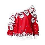 IZHH Damen Shirt Mode Frauen Frohe Weihnachten Weihnachtsmann Print Skew Kragen Sweatshirt Bluse Weihnachten Weihnachtsmann Diagonale Kragen Print Top Sweatshirt(Rot,X-Large)
