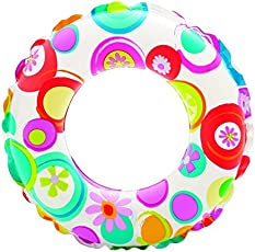 Intex 59241 Kids Circular Inflatable Swim Ring Float, Size 61cm, for Ages 6 - 10 Years(Multicolour)