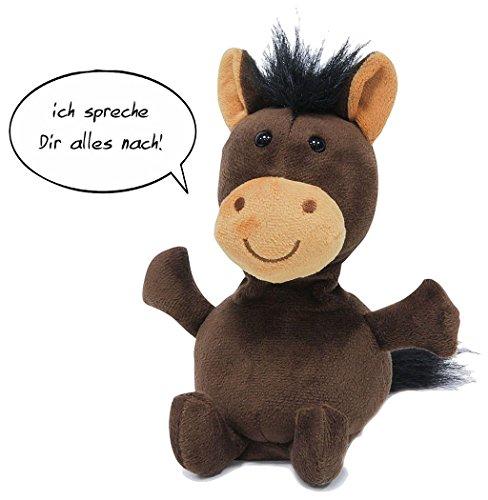 Preisvergleich Produktbild Hugo das sprechende Pferd reagiert auf Geräusche und plappert alles nach was es hört. Hugo hat Schlenkerarme und -beine und bewegt beim Sprechen den Kopf. Inklusive Batterie.