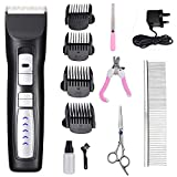 JHFUN Dog Clippers, 2 Speed Low Noise Cordless Pet Clippers Dog Trimmer Dog