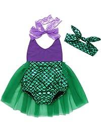 CHICTRY Bebé Niña Vestido de Princesa Sirena Pelele Disfraz de Sirena Halloween Infantil Vestido de Fiesta Carnaval Ceremonia Cosplay con Corona para Bebé