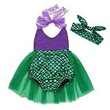 CHICTRY Bebé Niña Vestido de Princesa Sirena Pelele Disfraz de Sirena Halloween Infantil Vestido de Fiesta Carnaval Ceremonia Cosplay con Corona para Bebé Verde&Púrpura 12-24 Meses