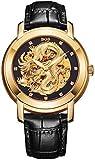BOS-Männer 'Dragon Collection' Luxury Geschnitzte Vorwahlknopf automatische mechanische Kalbsleder wasserdichte Golduhr 9007