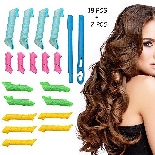 Lockenwickler Spiral-Styling-Set,DIY 18 weichen Schwamm Curly Hair Styling Lockenwickler Bunte Gelockt Werkzeuge Haar