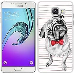 Funda carcasa TPU Gel para Samsung Galaxy A5 2016 perro carlino con pajarita borde blanco