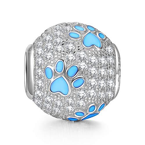 NINAQUEEN Pandora Charms angepasste Charm Geschenk für Frauen Weihnachtgeschenke Hund Pfotenabdrücke Silber 925 Zirkonia Emaille Schmuck Damen mit Schmuckkästchen Damen Geschenke für Mama