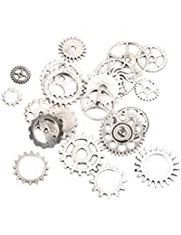 Steampunk Gears Charms Pendant Necklace Findings Pack of 20 Antique Silver