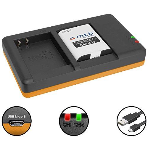 Batteria + Caricabatteria doppio (USB) per EN-EL23 / Nikon Coolpix B700, P600, P610, P900, S810c - Cavo USB micro incluso (2 batterie simultaneamente caricabili)