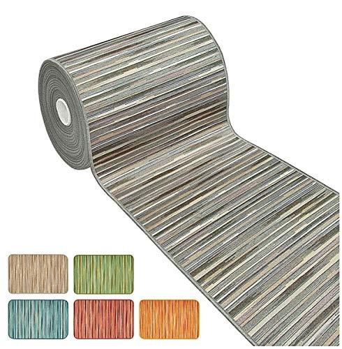 Tappeto cucina bordato tessitura piatta multiuso bagno camera corridoio stile bamboo varie misure 100% made in italy mod.chalet plus 51 52x280 grigio