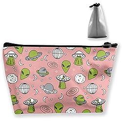 Bolsas de maquillaje trapezoidales UFO Green Alien Space Impreso Cosmetic Bag Toiletry Bag Portable Travel Wash Bag