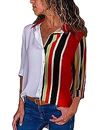 1409bfe5d8 FuweiEncore Camisa de Manga Larga con Botones a Rayas de Bloque de Color  para Mujer Blusa