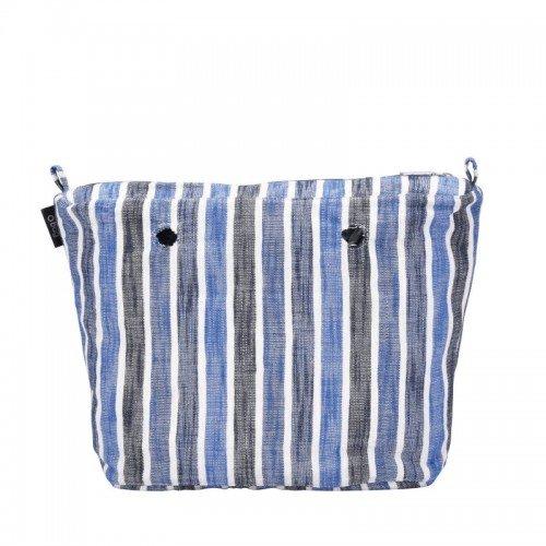 Sacca interna borsa o bag grande righe sfumate blu
