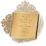 Wishmade Weiß Einladungskarten Mit Spitze 50 Stücke Mit Blumen Lasercut Design Hochzeit für Geburtstag Taufe Party Favors Bridal Shower Mit Umschläge und Aufkleber (Satz von 50pcs)