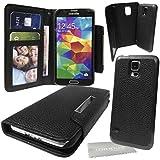 Stylebitz / étui portefeuille en cuir PU avec coque rigide détachable et magnétique pour Samsung Galaxy S5 / SV / i9600 + tissu de nettoyage (noir)