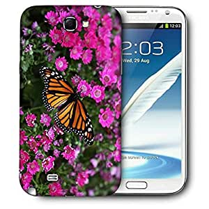 Snoogg Butterfly In Pink Flower Printed Protective Phone Back Case Cover For Samsung Galaxy Note 2 / Note II