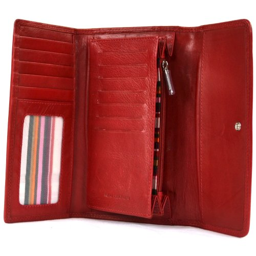 9b13c45ded0 Ladies Soft Nappa Large Matinee Leather Purse with Back and Inner Zip (Dark  Red) - Buy Online in Oman. | london leather Products in Oman - See Prices,  ...