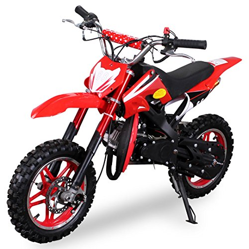 Kinder Mini Crossbike Delta 49 cc 2-takt Dirt Bike Dirtbike Pocket Cross (Rot) (2-takt-zündung)