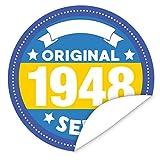 Original seit 1948 Aufkleber | 9,5cm groß | rund | inkl.Alles Gute - Postkarte | Individualisieren sie das Geschenk mit einem tollen Sticker