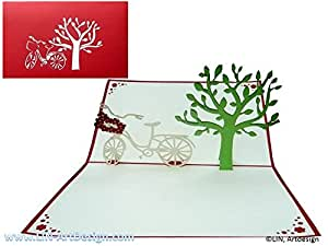 pop up 3d karte geburtstagskarte gutschein fahrrad unterm baum rot 153 b robedarf. Black Bedroom Furniture Sets. Home Design Ideas