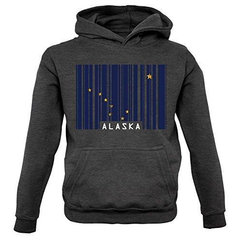 Alaska Barcode Flagge - Kinder Hoodie/Kapuzenpullover - Dunkelgrau - XXL (12-13 Jahre)