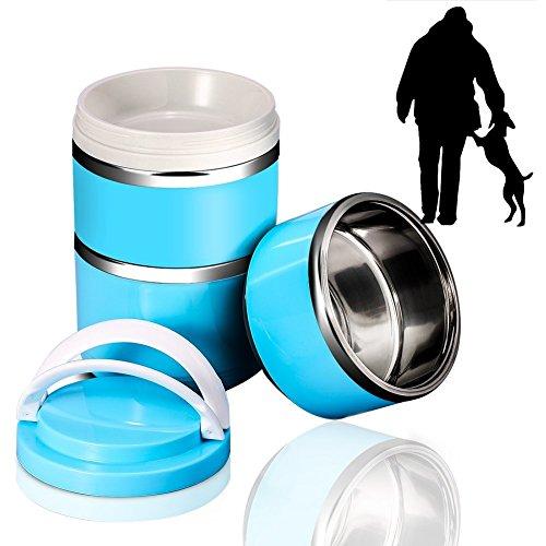 YOUTHINK Reisenäpfe Hundenapf Katzennapf aus Edelstahl Auslaufsicher Tragbar Futternapf Näpfe für Hunde Katze (Blau 3 Fächer)