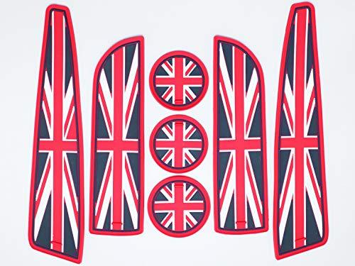 Rotes Autoinnenausstattung - Rot 7-teiliges Set UK Flag Union Jack Mini Cooper Zubehör: Anti-Rutsch-Untersetzer, Becherhalter, Seitentürmatte - Kompatibel mit 2007-2013 Mini Cooper Second Generation
