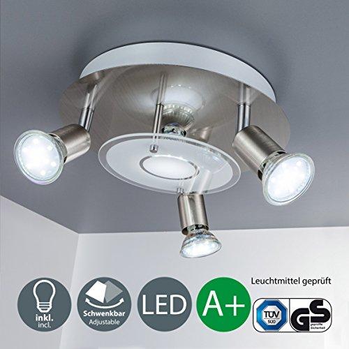 Lámpara de techo LED I Focos giratorios I Dormitorio I 4 x 3 W bombillas LED GU10 I Orientable I Plafón redondo I Color níquel mate I Color de la luz blanco cálido I 230 V I IP20 I 276 x 270 x 122 mm
