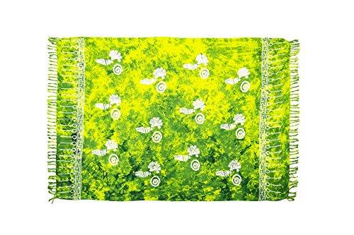 MANUMAR Damen Pareo blickdicht, Sarong Strandtuch in grün mit Muschel Motiv, 155x115cm, Handtuch Sommer Kleid im Hippie Look, Sauna Hamam Lunghi Bikini Coverup Strandkleid