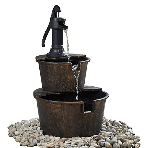 Serenity 2 Tier Barrel Cascading Water Feature with Traditional Hand Pump for Outdoor Garden and Patio Diameter 40.5 x H69cm