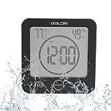 Badezimmeruhr Wasserdichte Dusche Uhr Timer Saugnapf Digital LCD Display Thermometer Hygrometer Silent Wanduhr Timer Küche Badezimmer(Schwarz)