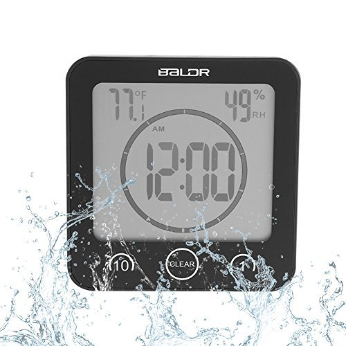 Badezimmeruhr Wasserdichte Dusche Uhr Timer Saugnapf Digital LCD Display Thermometer Hygrometer Silent Wanduhr Timer Küche Badezimmer(Schwarz) - Lcd Dusche Uhr