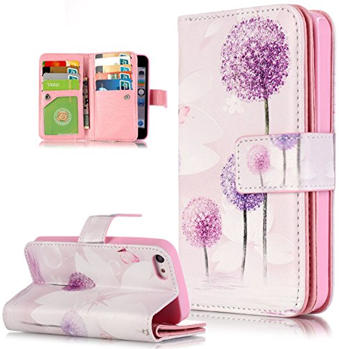 Roreikes Apple iphone 5C Coque, iphone 5C Case, Motif Fleur Strap Wallet Case Cover Colorful Cuir Retro PU flip Case Téléphone Mobile dans le livre de style étui en cuir de cas de téléphone avec suppo 4#