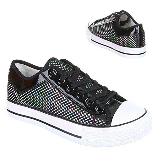 Sportschuhe Damenschuhe Geschlossen Sneakers Schnürsenkel Ital-Design Freizeitschuhe Schwarz 3