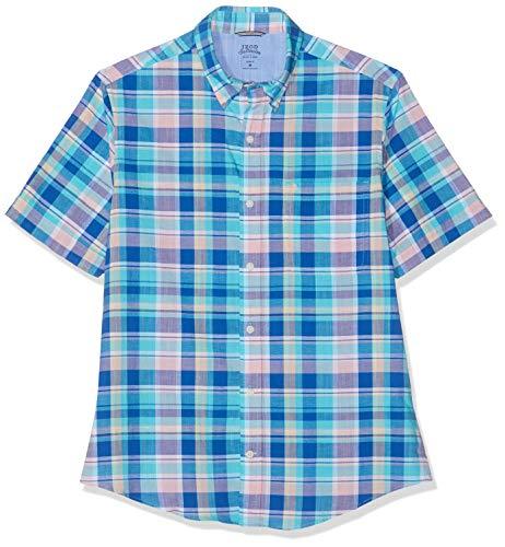 Izod Herren Hemden (Izod Herren Freizeithemd Dockside Big Plaid SS Shirt Blau (Blue Radiance 477), Herstellergröße: XX-Large)