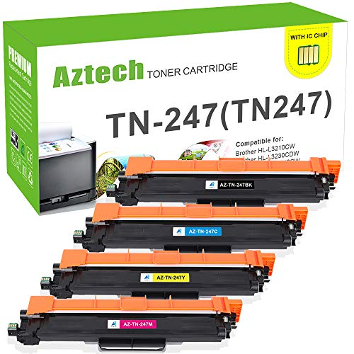 Aztech Kompatibel Toner Cartridge Replacement für Brother TN-247BK TN247BK TN-243BK TN247 TN243 für Brother MFC-L3750CDW MFC-L3770CDW DCP-L3550CDW HL-L3230CDW Toner Brother MFC-L3730CDN HL-L3210CW -