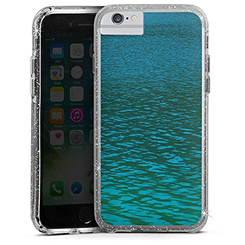 Apple iPhone 6 Plus Bumper Hülle Bumper Case Glitzer Hülle See Sea Water Bumper Case Glitzer silber