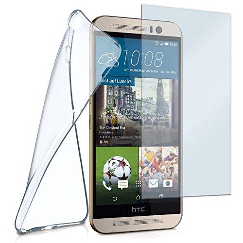 moex Silikon-Hülle für HTC One M9 | + Panzerglas Set [360 Grad] Glas Schutz-Folie mit Back-Cover Transparent Handy-Hülle HTC One M9 Case Slim Schutzhülle Panzerfolie