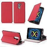 Huawei Honor 6X 4G/LTE Dual Sim 5,5 Zoll Tasche Leder Hülle Rot Cover mit Stand - Zubehör Etui Huawei Honor 6X Flip Case Schutzhülle (PU Leder, Handytasche Red) - XEPTIO accessories