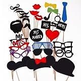 Musuntas® 31 Tlg. Party Foto Verkleidung Schnurrbart Lippen Brille Krawatte Hüten Photo Booth Props Set Hochzeit Partymitbringsel