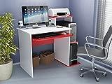 Schreiben Computer-Schreibtisch Modernes & Einfache Rot weiß Funktionale Modern Elegant Modernes Schreibtisch Industrie-Stil Studie & Laptop Tisch für Zuhause, Büro, Wohnzimmer, Arbeitszimmer