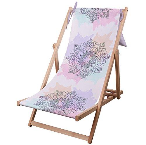 Hamaca de madera de calidad Premium, cómoda, regulable y plegable. Hamaca de playa y jardín de madera de eucalipto. Por Ziloo, Mandala