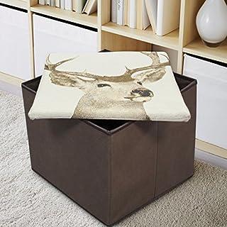 Ashley Mills New Tapestry Ottoman Stag Foldaway Storage Blanket Toy Box Padded Lid