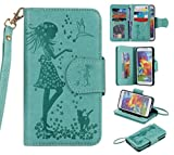 BONROY® Magnetic Flip Cover for Samsung Galaxy S5 G900 / S5 Neo SM-G903F,Woman and cat theme series Embossing Wallet Case with Hand Strap for Samsung Galaxy S5 G900 / S5 Neo SM-G903F, Premium PU Leather Folio Style Retro PU Leather Wallet Flip with Card Slots and and Stand Function Case Cover for Samsung Galaxy S5 G900 / S5 Neo SM-G903F