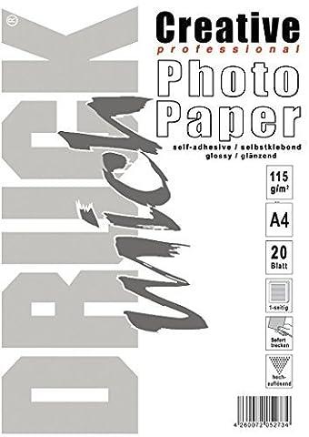 DRUCK mich Feuilles de papier photo brillant A4Autocollants 115g/m² 20feuilles