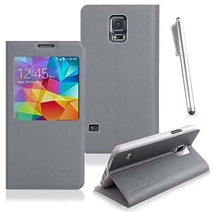 Samsung Galaxy S5 Handyhülle mit Standfunktion inkl. Touchstift grau