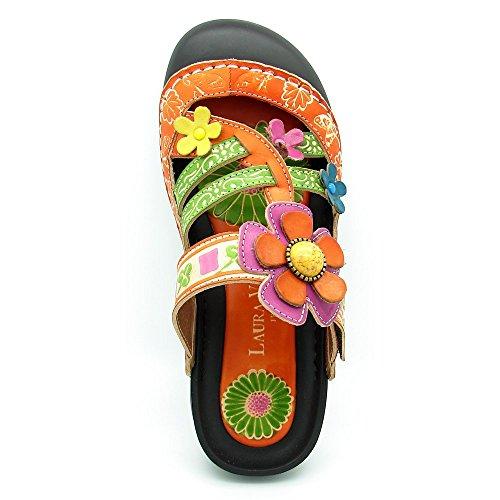 Laura Vita Phenix, sandale femme, cuir, kaki Orange